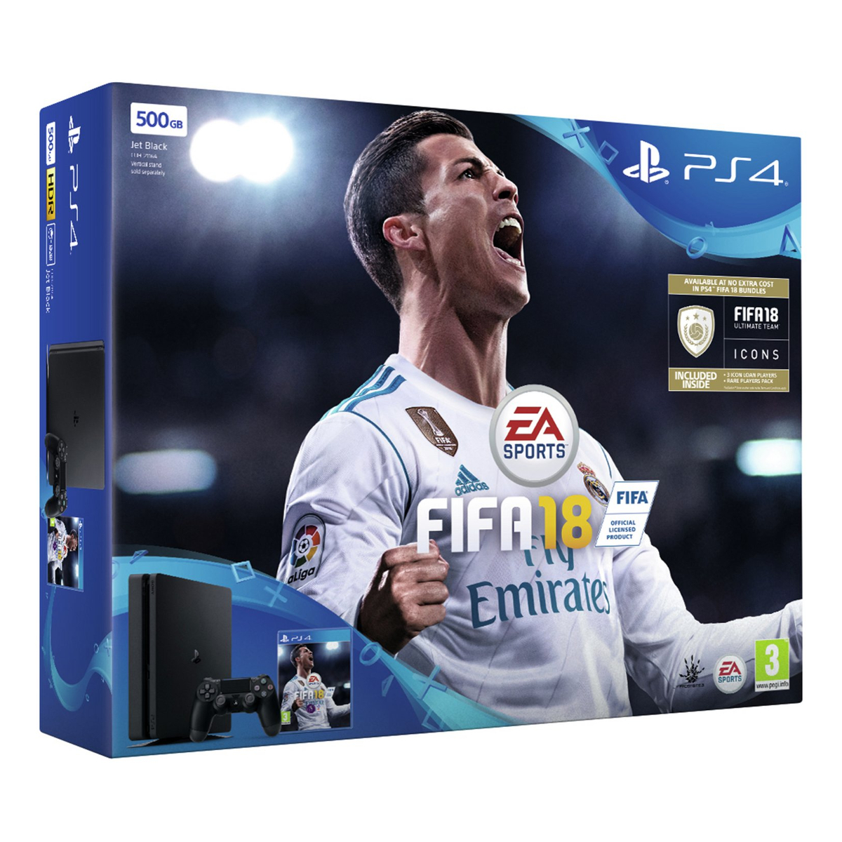 sony ps4s500fifa18 ps4 slim 500gb console with fifa 18. Black Bedroom Furniture Sets. Home Design Ideas