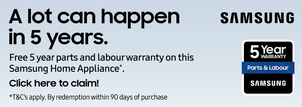 Free 5 Year Parts and Labour Warranty