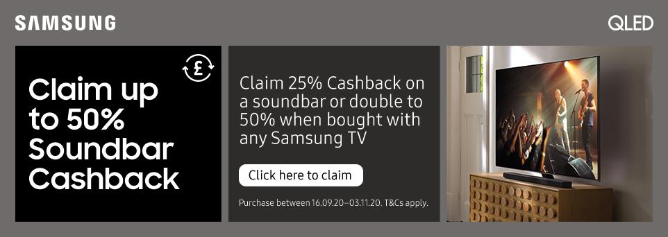 Buy this TV with any Samsung Soundbar and claim 50% soundbar cashback