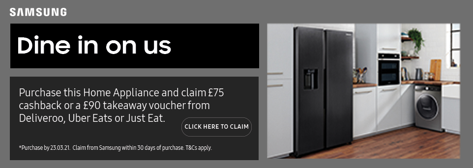 Claim £75 cashback or a £90 takeaway voucher with this appliance