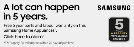 Free 5 year Parts and Labour via Redemption